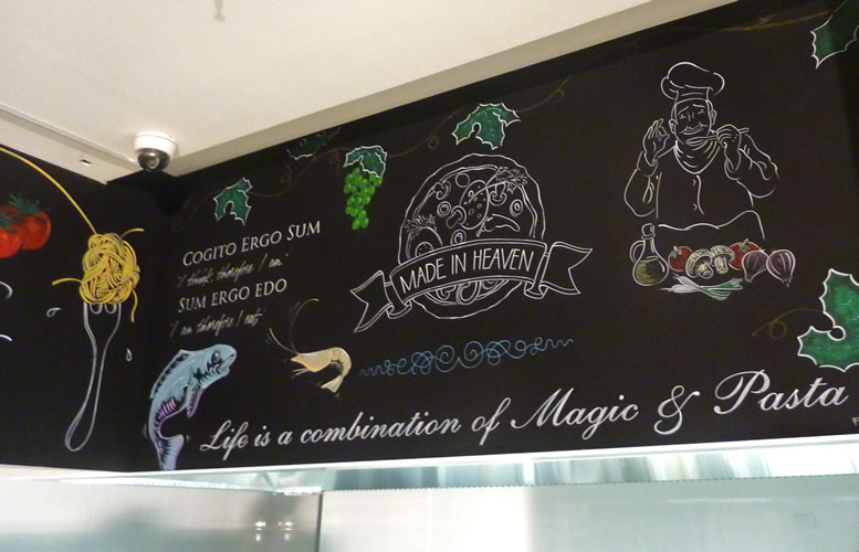 Hand painted blackboard chalk art