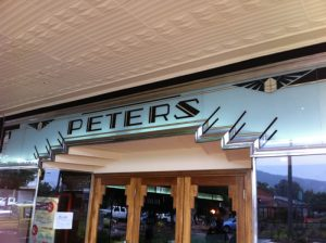 Art Deco facade glass signs