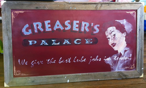 distressed aged painted sign