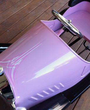 pinstriped pedal car
